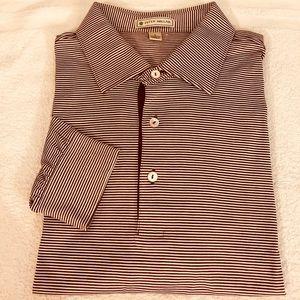 Peter Millar Maroon & White Stripe Polo Shirt L